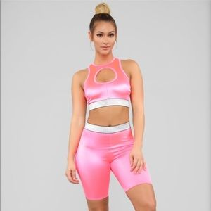Barbie pink leggings and sports top set